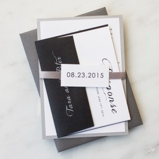 Gray Black Script Wedding Invitations by Beacon Lane