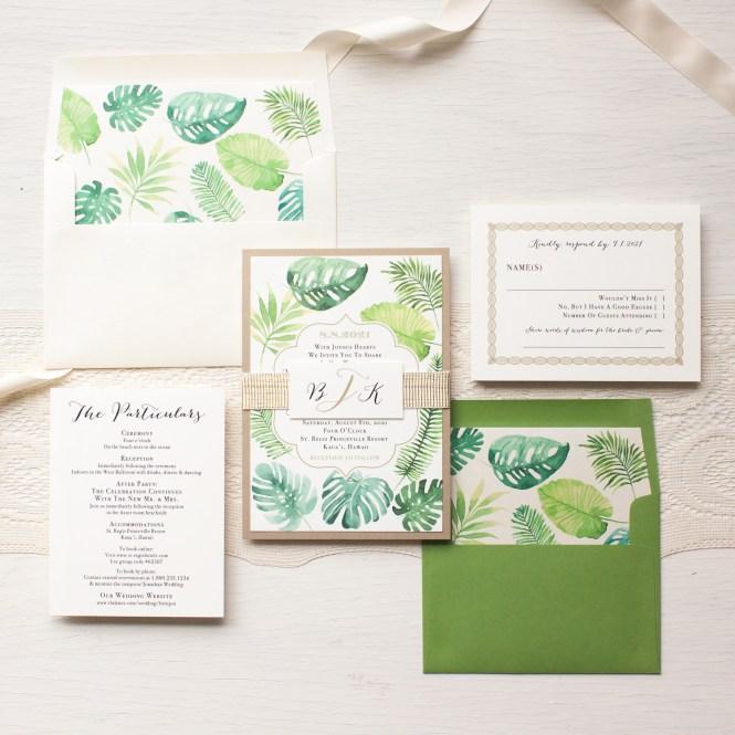 Tropical Green Wedding Invitations