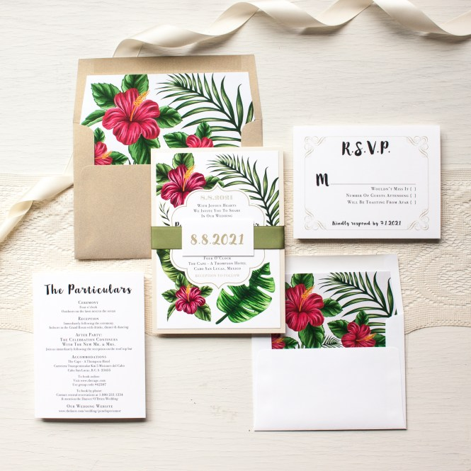 Tropical Fl Wedding Invitations Beacon Lane