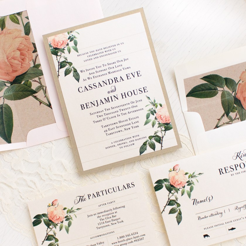 Ivory Blush Fl Wedding Invitations