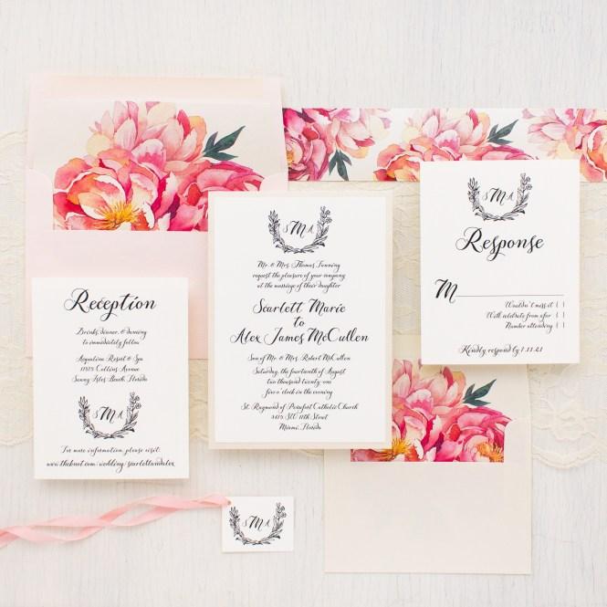 Pink Peonies Wedding Invitations