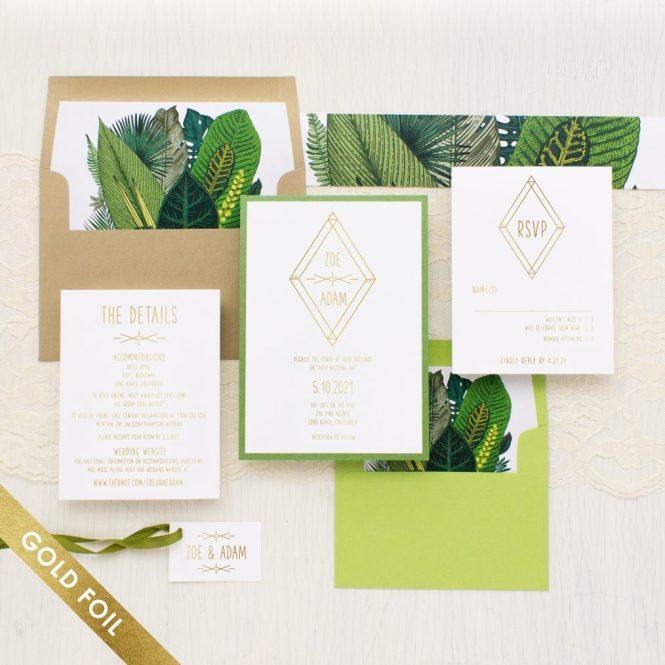 Gold Foil Green Leaf Wedding Invitations