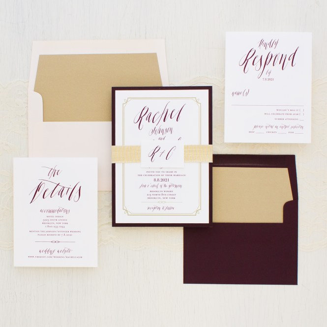 Blush Burgundy Wedding Invitations
