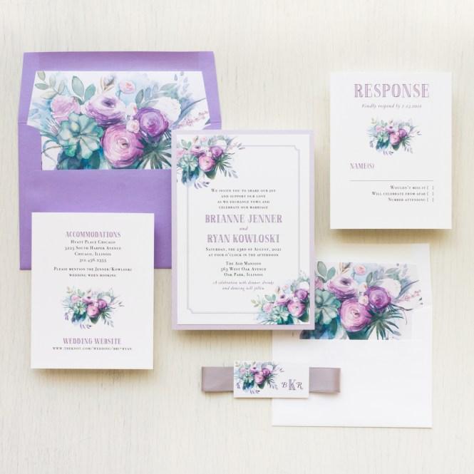 Rose Wedding Invitations Lavender Lilac