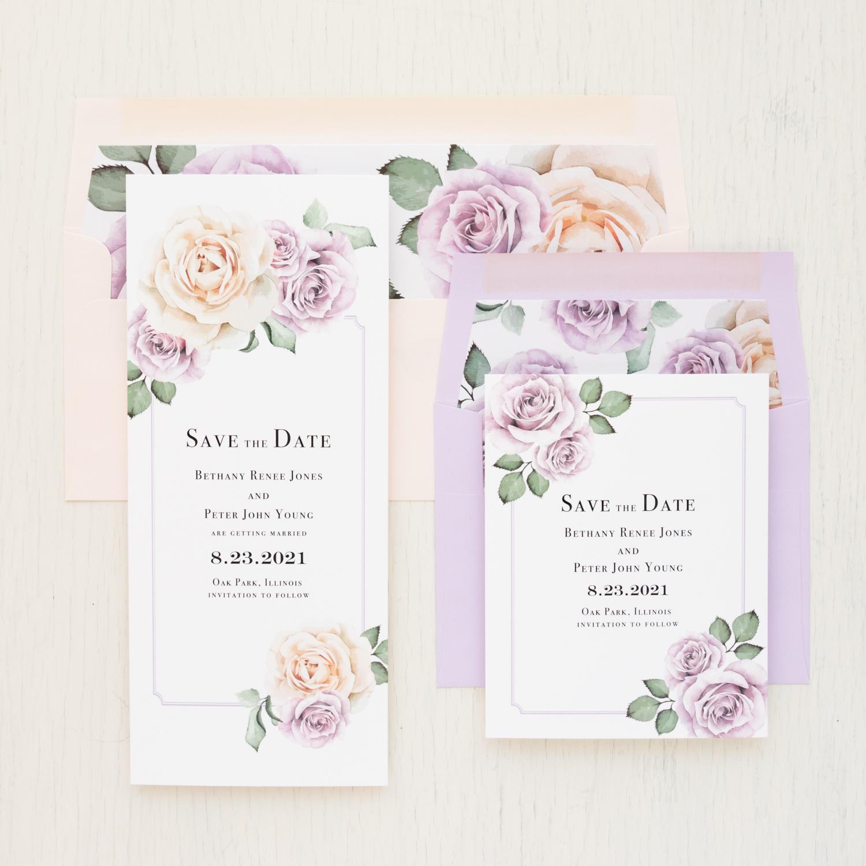 Lavender Blush Save The Dates Beacon Lane Wedding Invitations