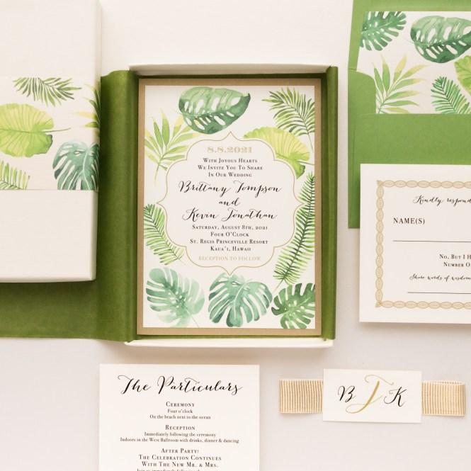 Tropical Greenery Wedding Invitations