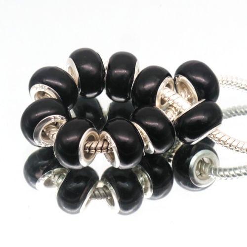 10pcs Fashion Pearl Black Acrylic European Beads