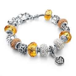 Amber European Bracelet with Heart Pendant