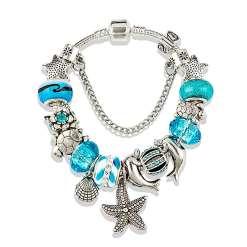 Aqua Blue European Bracelet with Nautical Theme