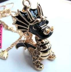 Betsey Johnson Black Dragon Pendant