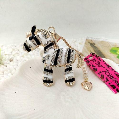 Betsey Johnson Black-White Zebra Pendant