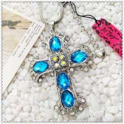 Betsey Johnson Blue Cross Pendant