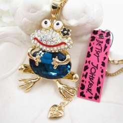 Betsey Johnson Blue Frog Pendant