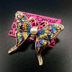 Betsey Johnson Blue-Gold Butterfly Pendant