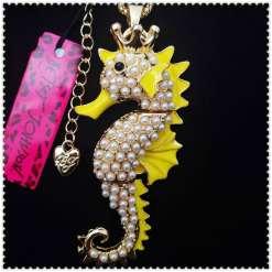 Betsey Johnson Crystal Seahorse Pendant