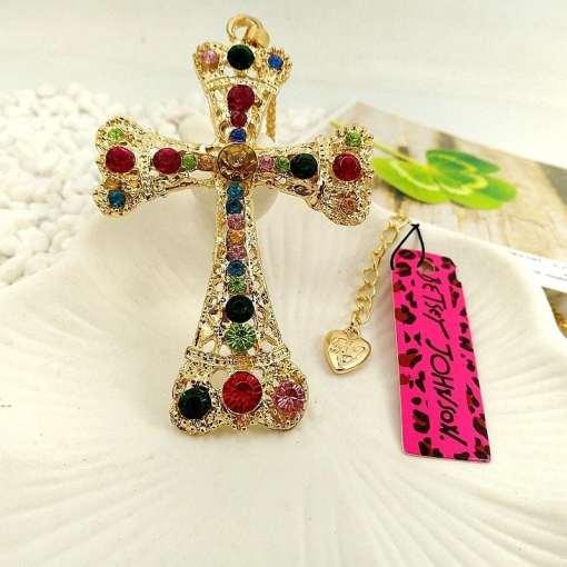 Betsey Johnson Multi-colored Gemstone Cross Pendant