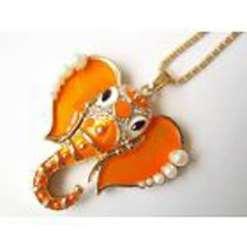 Betsey Johnson Orange Elephant Head Pendant