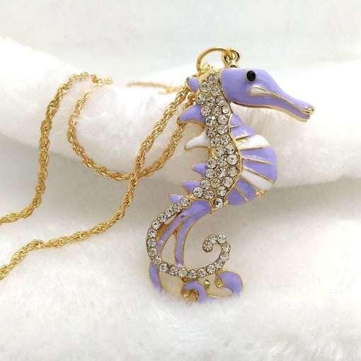 Betsey Johnson Purple Seahorse Pendant