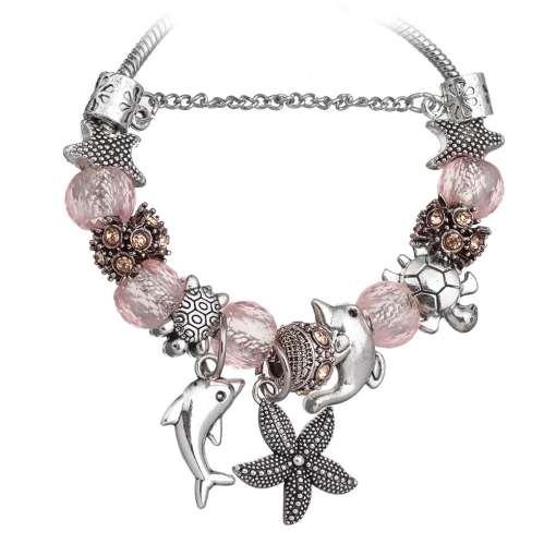 Pink European Bracelet with Nautical Theme