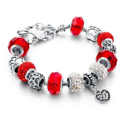 Red European Bracelet with Heart Pendant