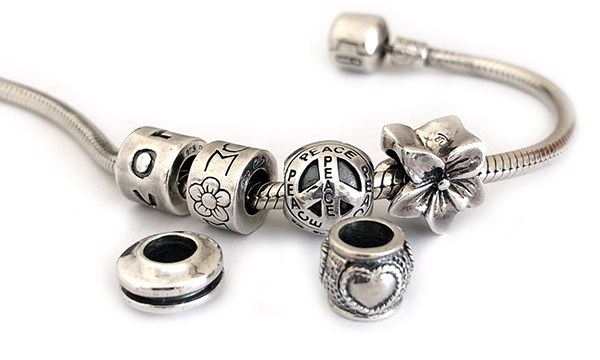 Discount large hole beads that fit Pandora, Troll or Chamilia
