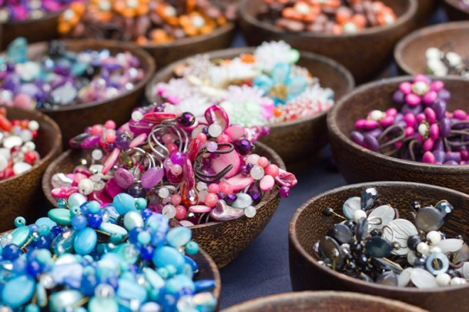 A variety of beads for jewelry