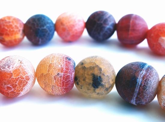 10mm Matte Deep-Red Fire Agate Beads
