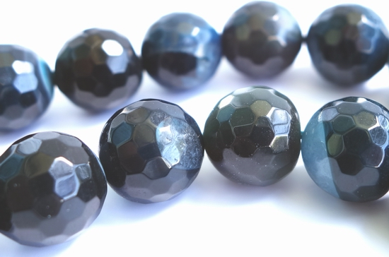Large 12mm Grand Faceted Blue-Black Agate Beads