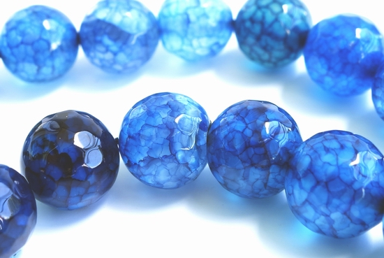 Sparkling 10mm Faceted Dynamic-Blue Agate Beads