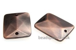 Copper Top-Bottom Double Drilled Facetted Rectangles