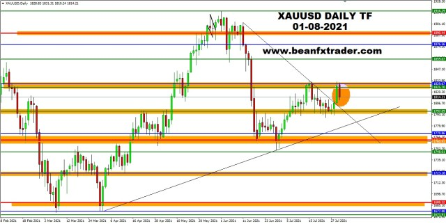 XAUUSD DAILY 1st August 2021 daily pus ma new