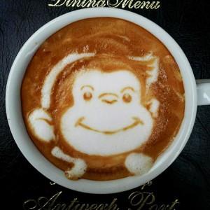 curious george latte art