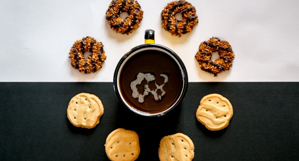 girl scout cookies and coffee