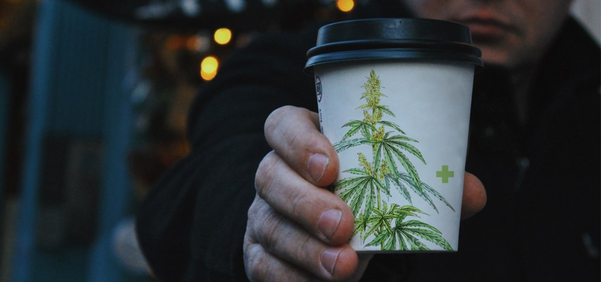 Coffee cup with cannabis illustration – CBD Coffee