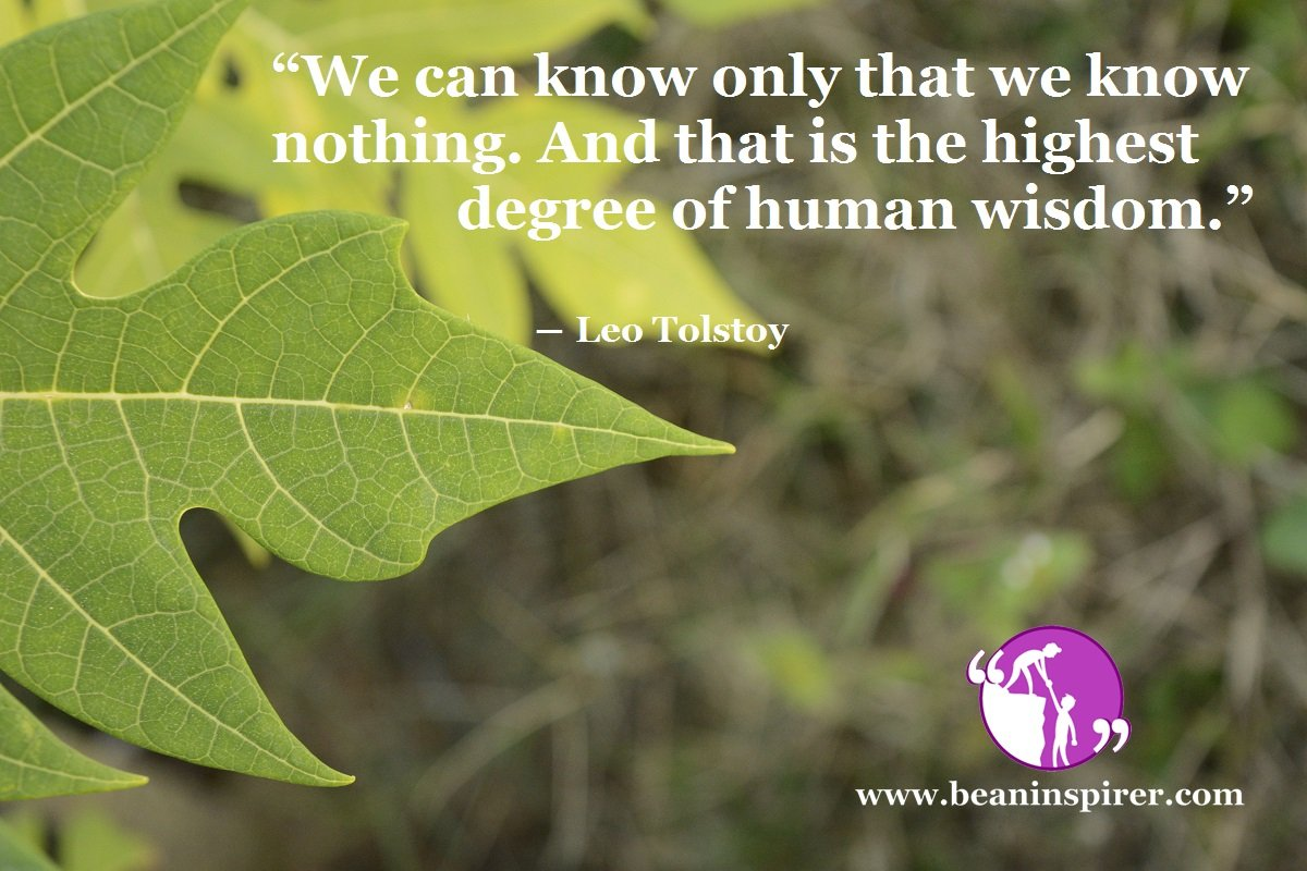 """""""We can know only that we know nothing. And that is the highest degree of human wisdom."""" ― Leo Tolstoy"""
