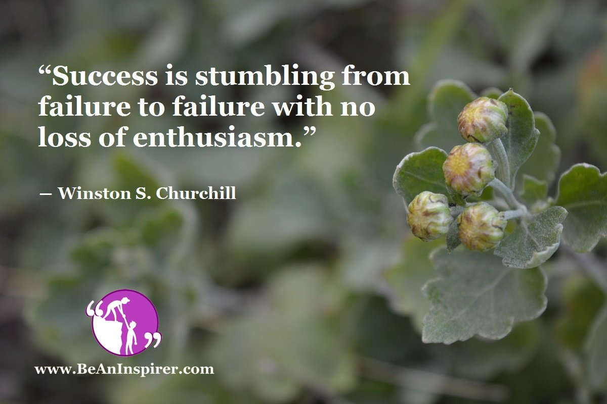 """""""Success is stumbling from failure to failure with no loss of enthusiasm."""" ― Winston S. Churchill"""