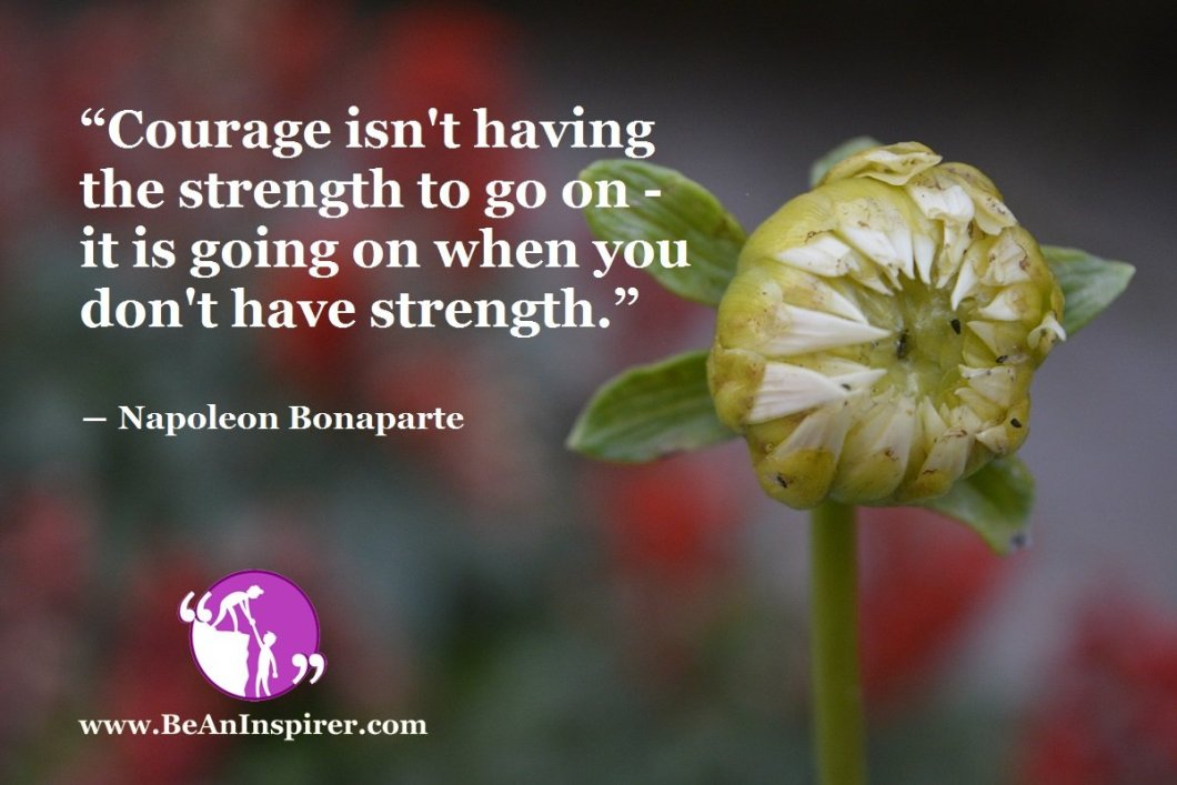 """""""Courage isn't having the strength to go on - it is going on when you don't have strength."""" ― Napoleon Bonaparte"""