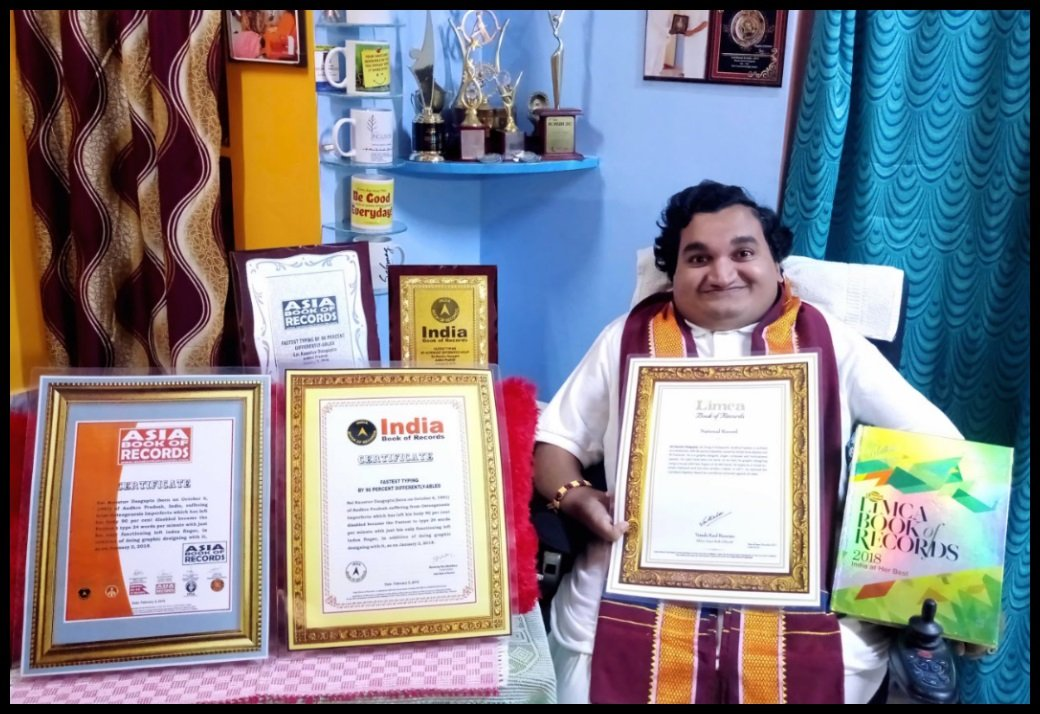 Sai Kaustuv Dasgupta entered into LIMCA BOOK OF RECORDS 2018, INDIA BOOK OF RECORDS 2018 and ASIA BOOK OF RECORDS 2018 for Fastest Typing Speed with one finger of left hand.