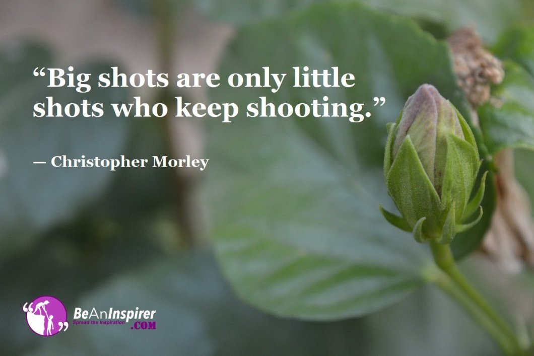 """""""Big shots are only little shots who keep shooting."""" — Christopher Morley"""