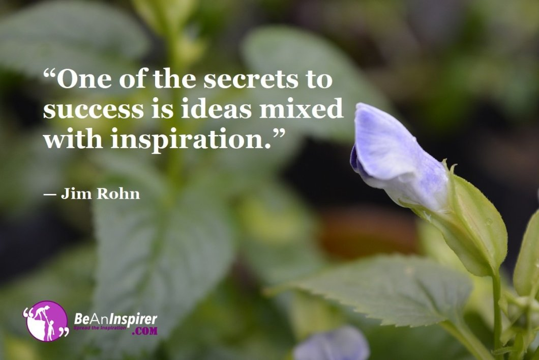 """""""One of the secrets to success is ideas mixed with inspiration."""" — Jim Rohn"""