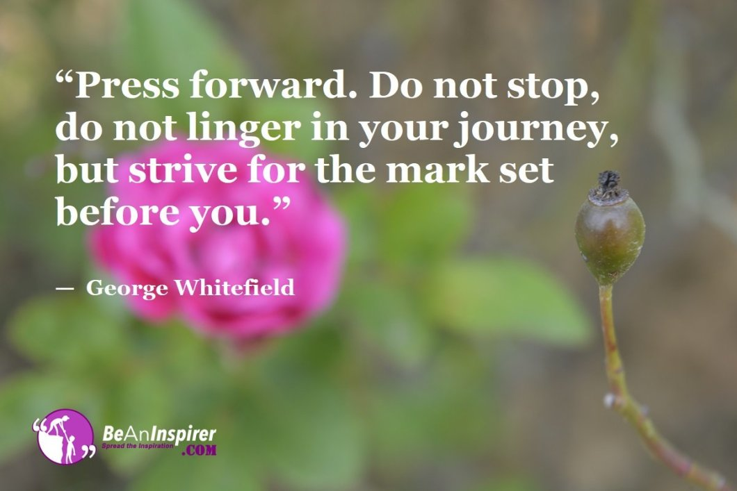 """""""Press forward. Do not stop, do not linger in your journey, but strive for the mark set before you."""" — George Whitefield"""