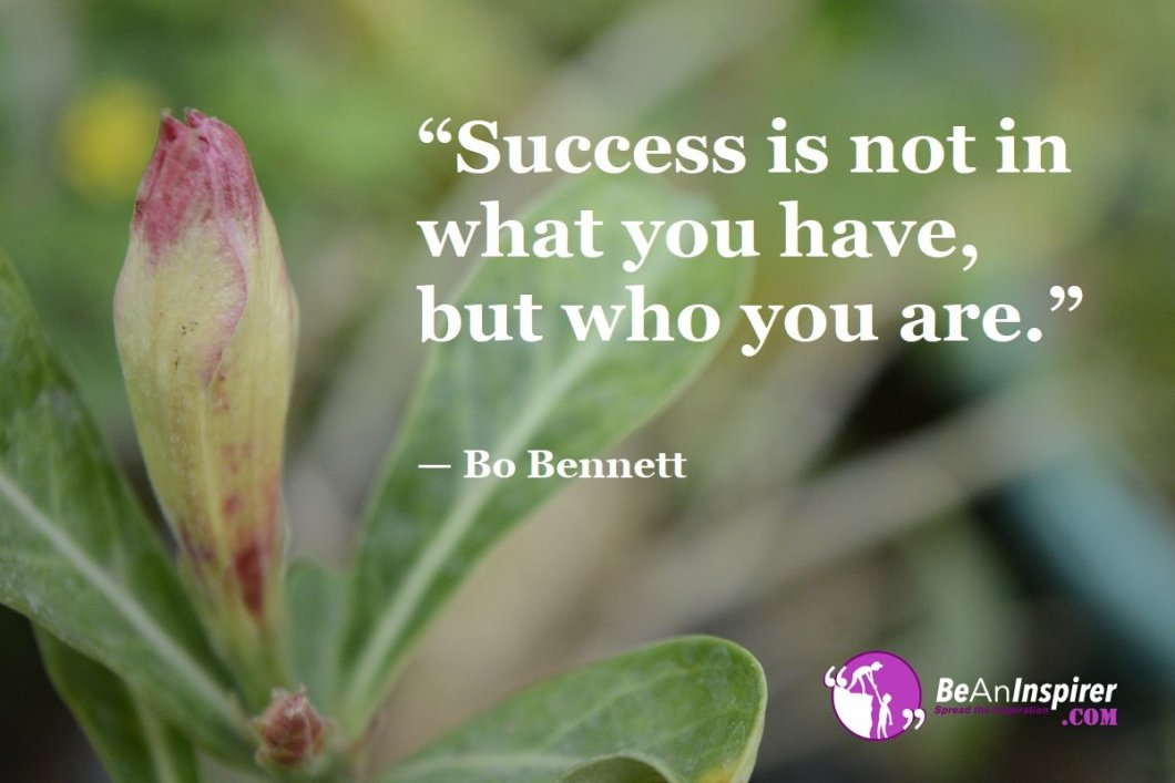 """""""Success is not in what you have, but who you are."""" — Bo Bennett"""