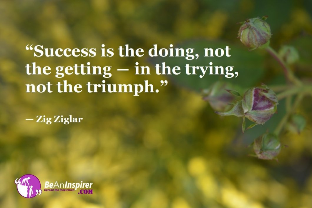 """""""Success is the doing, not the getting ― in the trying, not the triumph."""" — Zig Ziglar"""
