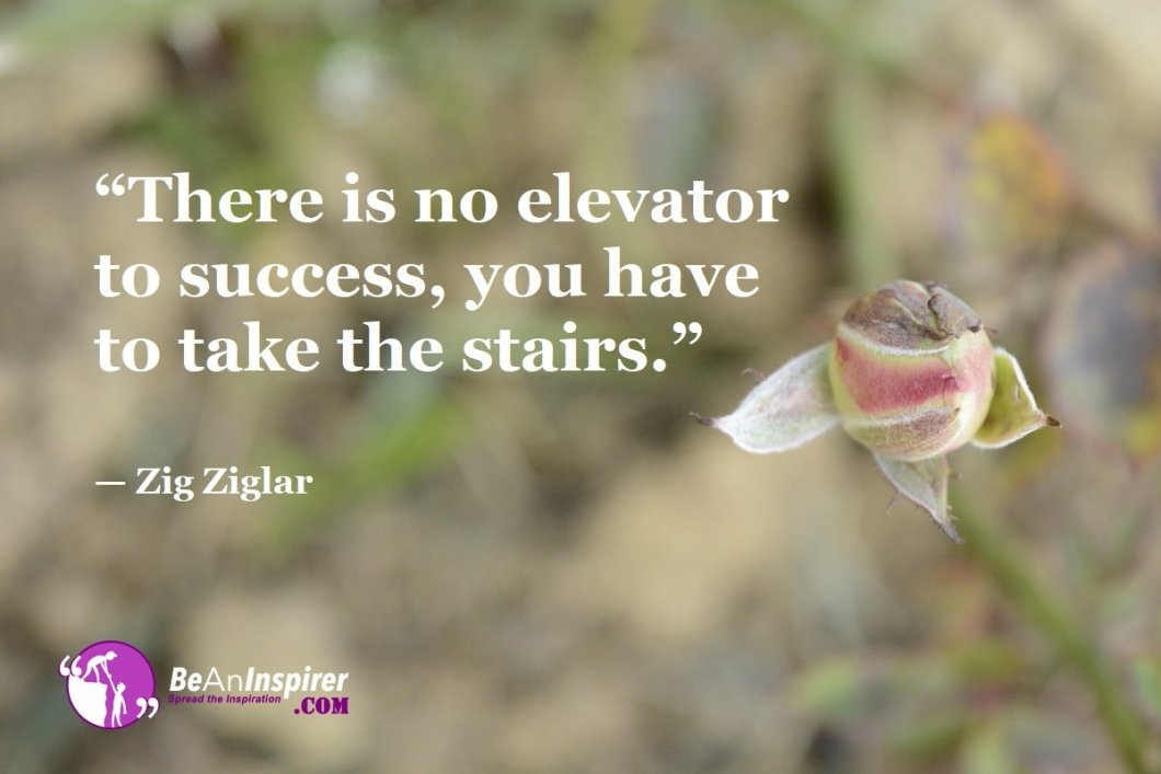 """""""There is no elevator to success, you have to take the stairs."""" — Zig Ziglar"""