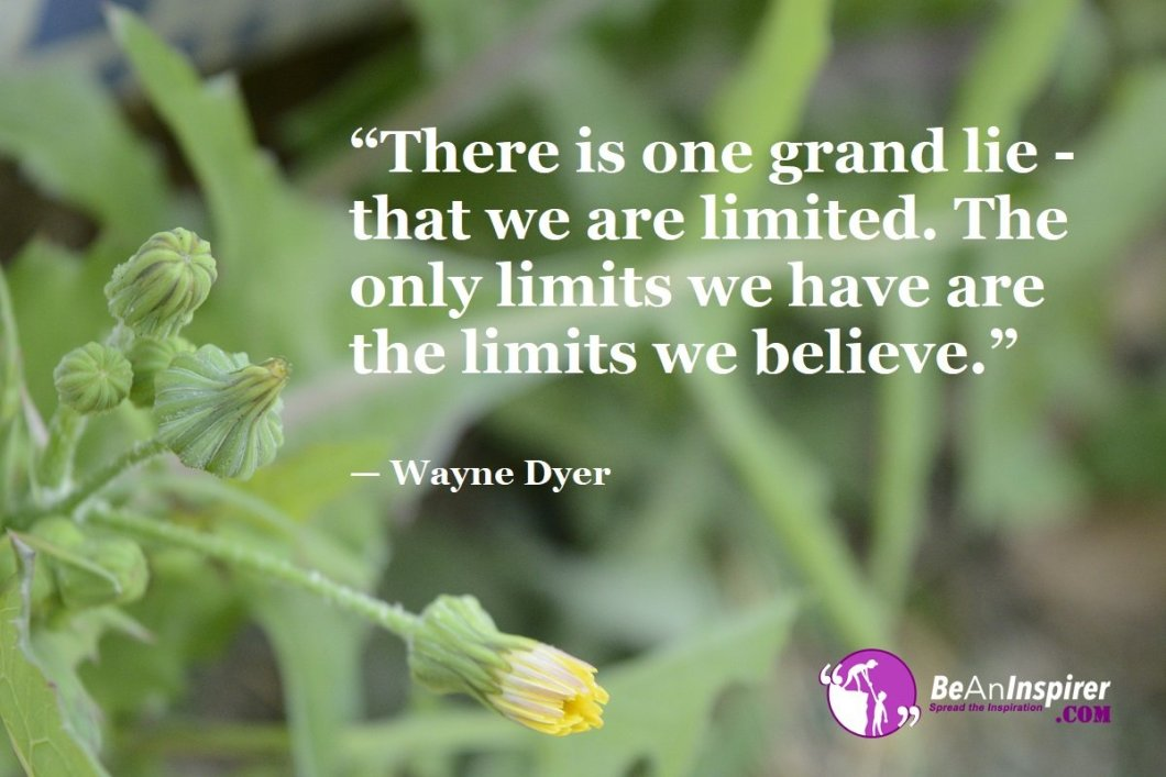 """There is one grand lie - that we are limited. The only limits we have are the limits we believe."" — Wayne Dyer"