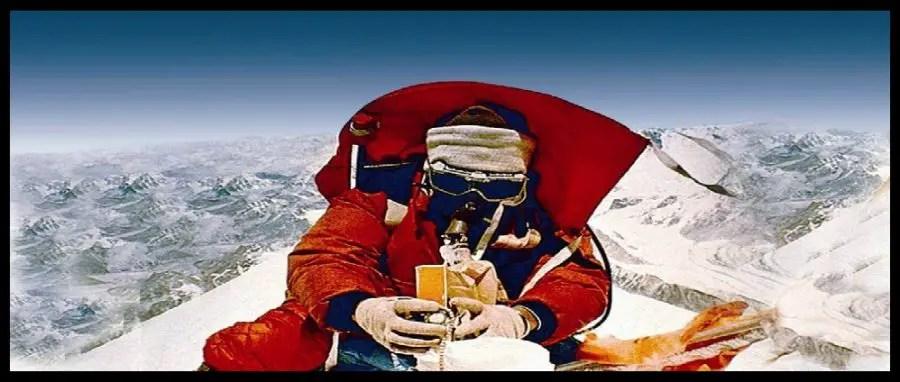 Hari Pal Singh Ahluwalia on the Summit of Mount Everest.