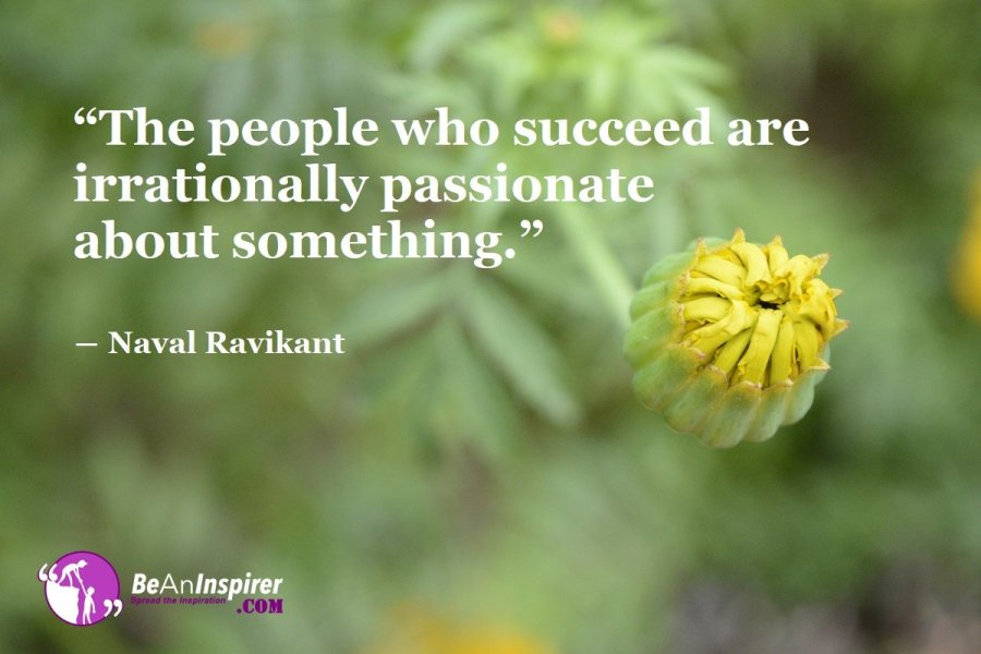 """""""The people who succeed are irrationally passionate about something."""" ― Naval Ravikant"""