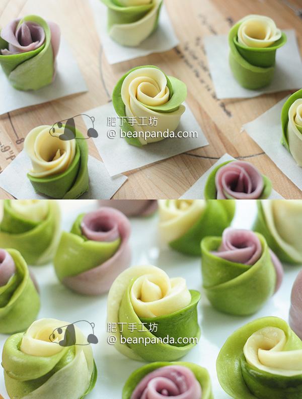 抺茶玫瑰湯種饅頭 放兩三天都超軟超綿 Matcha Rose Steam Bun Tangzhong Recipe