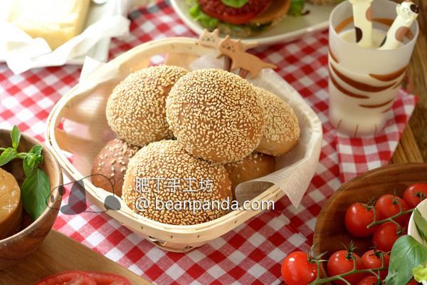 全麥漢堡包【全蔬食·無蛋奶】高比例全麥一樣可蓬鬆柔軟 Homemade Whole Wheat Hamburger Buns