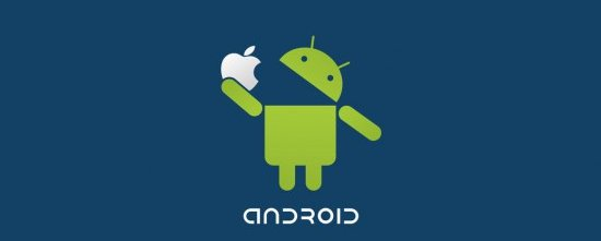 Android Logo eating the Apple Logo